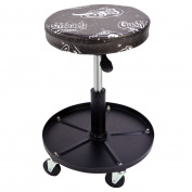 Gas Monkey Pneumatic Garage Chair with Tool Tray - 5 Rolling Casters with 140kg Capacity