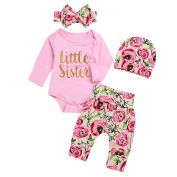 puseky Newborn Baby Girls Little Sister Romper Floral Pants Headband Hat Outfit 4pcs/Set