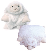 Inware – 2-in-1 Plush Animal Plush/Pillow, with hook and loop ninnin 35 x 25 cm, Sheep or Cow