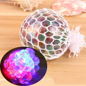 Bodhi2000 Squishy Mesh Balls LED Grape Shape Stress Ball Squeeze Stress Reliever Novelty Vent Toy for Kids and Adults