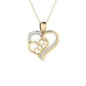 Trillion Designs 10k Yellow Gold 1/10 Ct Natural Round Cut Diamond MOM Heart Pendant H-I I2