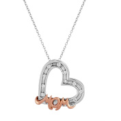 Chetan Collection 0.05 Carat T.G.W. CZ 10kt White Gold Designer Heart and Mom Pendant