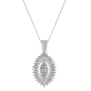 Chetan Collection 0.10 Carat T.W. Diamond Sterling Silver 925 Designer Oval-Shaped Cluster Pendant