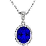 5th & Main Platinum-Plated Sterling Silver Facet-Cut Blue Obsidian Pave CZ Pendant Necklace
