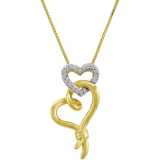 Knots of Love 14kt Yellow Gold over Sterling Silver 1/10 Carat T.W. Diamond Double Heart Pendant, 46cm