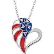 Petite Expressions Created White Sapphire Patriotic Heart Pendant in Sterling Silver, 46cm