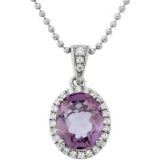 5th & Main Platinum-Plated Sterling Silver Facet-Cut Amethyst Pave CZ Pendant Necklace