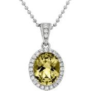 5th & Main Platinum-Plated Sterling Silver Facet-Cut Lemon Quartz Pave CZ Pendant Necklace