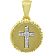 Chetan Collection 0.06 Carat T.W. Diamond Sterling Silver 925 with 18kt Gold Plating Designer Cross Pendant
