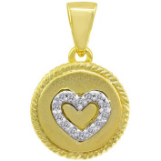 Chetan Collection 0.06 Carat T.W. Diamond Sterling Silver 925 with 18kt Gold Plating Designer Heart Pendant