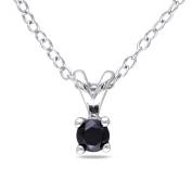 "1/6 Carat T.W. Black Diamond Sterling Silver Solitaire Pendant, 18"""