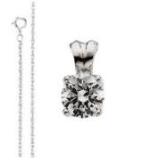 Round Diamond Solitaire Pendant Necklace 14K White Gold