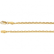 """14K Yellow Gold 2.5mm Diamond-Cut Cable 16"""" Chain"""