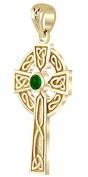 14k Yellow Gold Chatham Synthetic Emerald Irish Celtic Cross Pendant