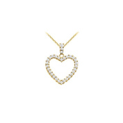 LoveBrightJewelry 14K Yellow Gold Floating Heart Cubic Zirconia Pendant Necklace 1.00 CT CZ