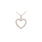 LoveBrightJewelry 14K Rose Gold Floating Heart Cubic Zirconia Pendant Necklace 1.00 CT CZ