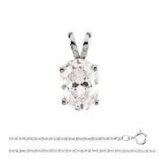 Oval Diamond Solitaire Pendant Necklace 14k White Gold ( 0.47 Ct, E Colour, I1