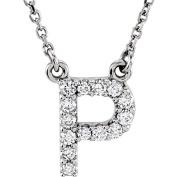 14kt White Letter 1/8 CTW Diamond 16 Necklace