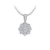 LoveBrightJewelry Cubic Zirconia Circle Pendant in 14K White Gold 0.33 CT TGWPerfect Jewellery Gift for Women