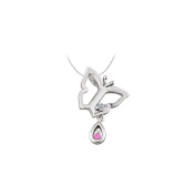LoveBrightJewelry Butterfly Pendant Necklace with Diamond and Pink Sapphire in 14kt White Gold 0.05 CT TGW