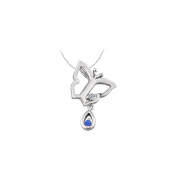 LoveBrightJewelry Butterfly Pendant Necklace with Diamond and Sapphire in 14kt White Gold 0.05 CT TGW