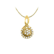 LoveBrightJewelry Diamond Circle and Loop Fashion Pendant in 14K Yellow Gold 0.10 CT TDWJewelry Gift for Women