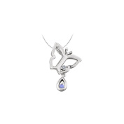 LoveBrightJewelry Butterfly Pendant Necklace with Tanzanite and Diamond in 14kt White Gold 0.05 CT TGW