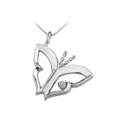 LoveBrightJewelry Butterfly Pendant Necklace with Cubic Zirconia in 14kt White Gold 0.15 CT TGW