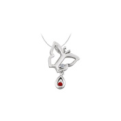 LoveBrightJewelry Butterfly Pendant Necklace with Diamond and Ruby in 14kt White Gold 0.05 CT TGW