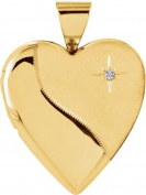 14kt Yellow .01 CTW Diamond Heart Locket