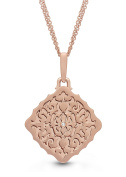 Rose Gold, Diamond Square Stacked Locket Necklace, 46cm chain, The Mimi by With You Lockets