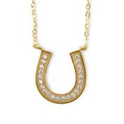 14k Yellow Gold Cubic Zirconia Floating Horseshoe Necklace