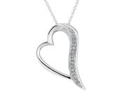Diamond Heart Pendant Necklace in 10K White Gold with Chain