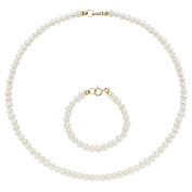 Pearlyta 14k Gold Cultured Freshwater Pearls Kid's Flower Girl Necklace and Bracelet Se