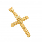 Mens 5.1cm 14k Gold Plated Polished Classic Design INRI Crucifix Jesus Cross