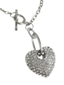 Dangling Rhinestone Heart Toggle Necklace / Pendant