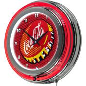 Coca Cola Chrome Double Rung Neon Clock, Pop Art