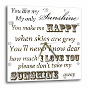 3dRose You Are My Sunshine- Word Art- Vintage Song, Wall Clock, 33cm by 33cm