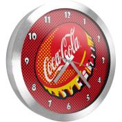 Coca Cola 30cm Brushed Aluminium Wall Clock, Pop Art