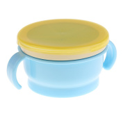 MagiDeal Baby Feeding Bowl Snack Catcher Cup Safe Container Travelling Double Handle Bowl - Blue, as described