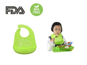 Baby silicone Suction Plate & silicone Bib Set, Non-slip Tollder silicone Dish Meal Mat Placemat Food Grade Divided Sections With Strong Suction Cups, Soft and Comfortable Waterproof silicone Bibs with Large Food Pocket Catches Most Spills, FDA and BPA ..