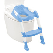 Kids Baby Child Toddler Training Potty Loo Toilet Seat & Adjustable Height Step Ladder With Non-Slip Handrails & Anti-Skid Feet - Blue