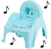 Toilet Pot Musical Baby Chair with Cat and Dog Theme Colour Light Blue