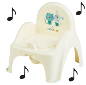 Toilet Pot Musical Baby Chair Colour Light Yellow Theme Cat and Dog