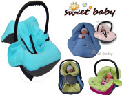 Sweet Baby Soft Blanket Autumn/Winter 3 and 5-Point Seatbelt System Universal for Baby Seat/Car Seat e.g. for Maxi Cosi/Römer, Pram, Buggy or Baby Bed – -GREY/TURQUOISE – -