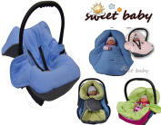 Sweet Baby Soft Blanket Autumn/Winter 3 and 5-Point Seatbelt System Universal for Baby Seat/Car Seat e.g. for Maxi Cosi/Römer, Pram, Buggy or Baby Bed – -GREY/BLUE – -