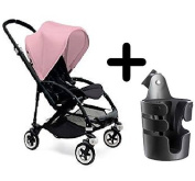 Bugaboo Bee3 Stroller Black/Soft Pink + Bugaboo Cup Holder by Bugaboo