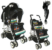 DUO Double buggy Twin Tandem Pushchair stroller 2 seat units, fully reclining lie back at the rear for newborn, front fixed seat from 6 months. Rain cover and 1 footmuff. Silver Chassis Candy Stripe