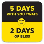 Funny Humorous 'Work Vs Life' Novelty Drinks Coaster