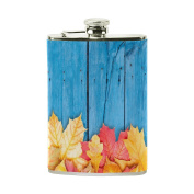 COOSUN Autumn Leaves Over Wooden Drinking Flask with PU Leather Wrapped, Stainless Steel Leak Proof Liquor Hip Flask, 240ml